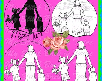 Digital stamp colouring image - Mothers day . jpeg / png