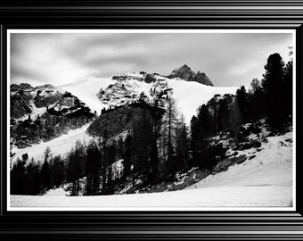 Black and White mountains landscape photography print. Wall Art Decor