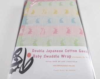 Easter bunny swaddle wrap blanket in gift box