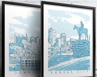 Downtown Kansas City Screen Printed Poster Set