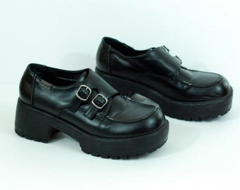 90s Mudd Chunky Platform Buckle Shoes Faux Leather Size 8.5 8 1/2