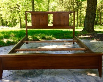 Reserved for Briel Banks: Mid Century Modern Broyhill Saga Full Queen Bed Frame Headboard Footboard Side rails