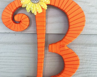 Summer Outdoors, Front Door Decor, Orange Decor, Summer Initial, Wall Letters, Letter B, Home Decor, Initial for Wall, Decorated Letters