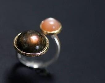 Labradorite Gold Open Ring-Sterling Silver Gems Ring-Orange Moonstone-Aqua Gemstone-Mom Ring-Gift for her