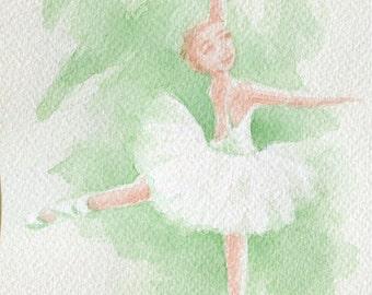 Original ballerina watercolour painting, ballet art, dancer decor. dancing girl gift, dance recital art, green wallart, dancer art