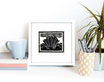 Sea Shell Hand Printed Linocut