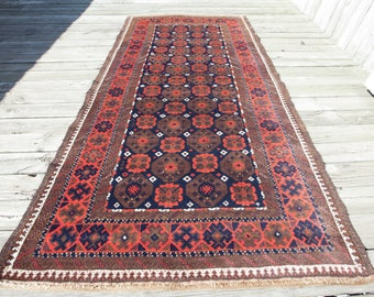 "BALUCH RUG Beautiful Wool Good Condition Soft Colors 5'9""x3'0""/177x91 cm FREE Shipping Item No. R-103"