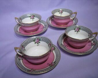 AYNSLEY (England) TEACUPS - Set of 4 Vintage Pink, Pattern #3230,  c.1909