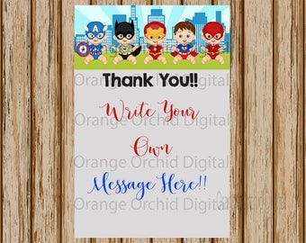 """INSTANT DOWNLOAD- Superhero Thank You Note - Superhero Baby Shower Thank You Note- Baby Shower Thank You- 4"""" x 6"""" size- Digital Download"""