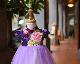 Baby girl cheongsam style tutu dress handmade purple
