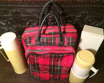 Thermos Plaid Vintage Picnic Set Sandwich Box Carry Bag