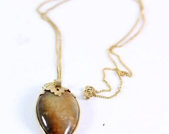 Ming's Hawaii Brown Tear Drop Jade 14K Yellow Gold Pendant & Necklace