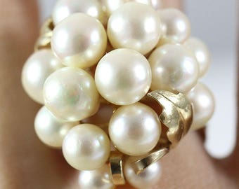 Vintage Ming's Hawaii White Pearl Cluster 14K Ring (Size 5.75)