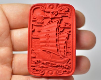 Beautiful Carved Cinnabar Pendant Red color. 57.5x37.5x8 mm.