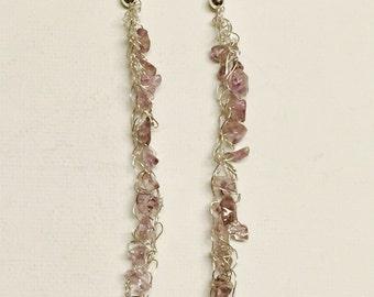 Amethyst Silver Wire Crochet Dangling Earrings