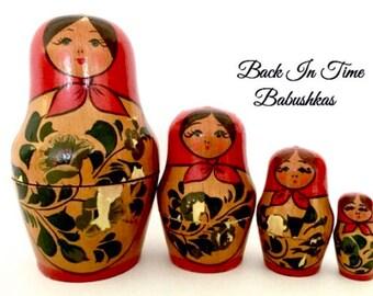 USSR Russian Nesting Doll, Rare Matryoshka Dolls, Set of Four Floral Hand Painted Babushka Dolls. Christmas Nesting Doll Gift, Hanukkah GIft