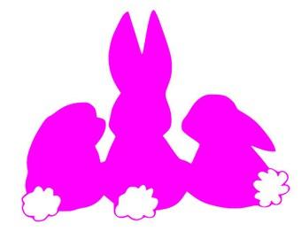 3 bunnies SVG File, Quote Cut File, Silhouette File, Cricut File, Vinyl Cut File, Stencil