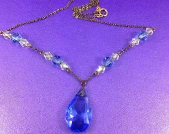 Vintage Rolled Gold Pendant Necklace, Teardrop Pendant, Art Deco Glass Pendant Necklace, 1930's Necklace