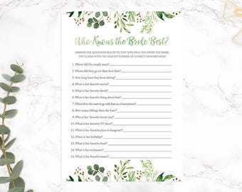 Who Knows the Bride Best, Floral Bridal Shower Game, Rustic Bridal Shower Game,Printable Digital, INSTANT DOWNLOAD
