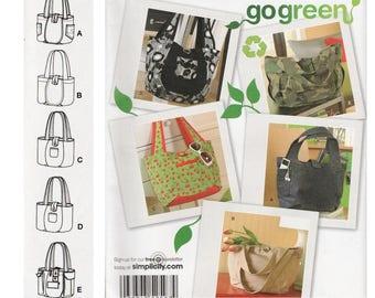 Tote Bag Pattern Shopping Tote Shopping Bag Pattern SIMPLICITY 2597 UNCUT FF Market Tote Bag Pattern Shoulder Bag Pattern Bookbag Pattern