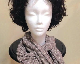 Taupe and White Stripped Knit Loop Scarf