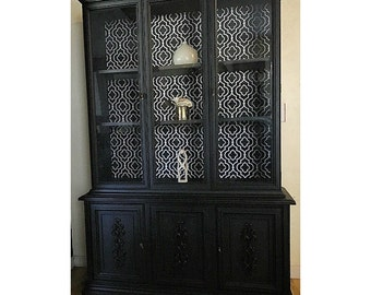 Classic Craftsman Antinque Black 2pc Hucth China Cabinet  French Hutch modern contemporary coastal roth style
