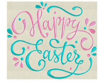 Happy Easter - Embroidery Design Embroidery DESIGN FILE  - Instant download For Larger Hoops - Hus Dst Jef Pes Exp Vp3 formats