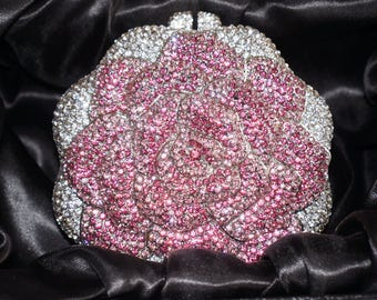 Silver and Pink  Rose Crystal Clutch, Gift for her, Clutch, Evening Bag, Special Occasion Clutch, Party Clutch
