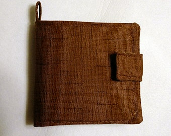 Men's Fabric Bifold Wallet Black/Brown Handmade with Closure