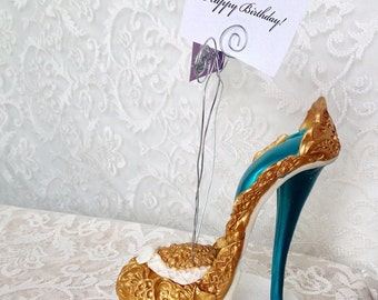 High Heel Cake Topper / Shoe Centerpiece / Photo Card Wire Holder /Stiletto Cake  / Fashion Accessories / Desk Accessories / Womens Shoes