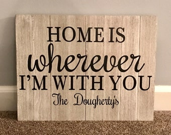 Home Is Wherever I'm With You, Personalized Pallet Sign, Vinyl Personalized Sign, Last Name, Established, Handmade