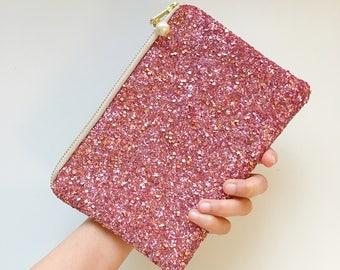 Blush Pink and Gold Glitter clutch bag, Bridal clutch, Wedding clutch bag, Spring wedding accessory, Bridesmaid gift, Blush wedding clutch