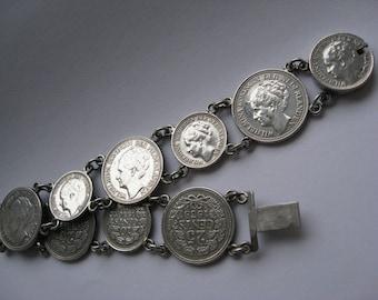 Bracelet Wartime jewelry Wilhelmina Koningin Der Nederlanden silver coins. Holland