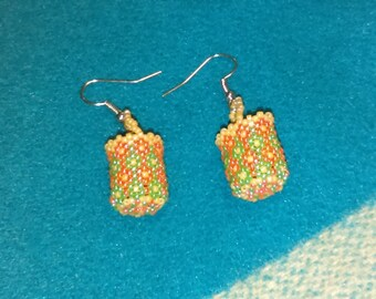 Pink and Green Flowers Beaded Basket Earrings