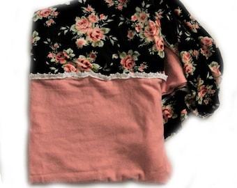 Black floral swaddle, baby girl swaddle blanket, floral blanket,Girl swaddle blanket, vintage blanket, baby girl blanket, newborn blanket