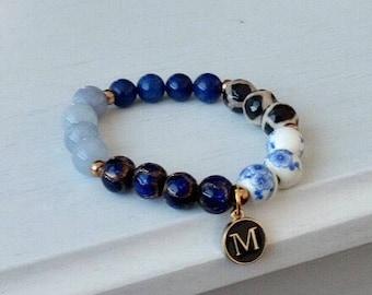 MIDNIGHT BLUE INITIALS   Beaded Bracelet   Charm Bracelet   Initials Bracelet
