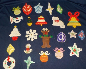 A Large Lot of Plastic Canvas Christmas Holiday Ornaments