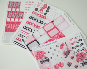 I love you Valentines Weekly Planner Sticker Kit and Washi Removable Matte  or Glossy Stickers #200 Full Kit