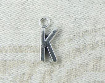 "Silver Letter ""K"" Charms, 1 or 5 letters per package  ALF013k"