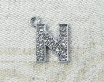 "Silver Rhinestone Letter ""N"" Charms, 1 or 5 letters per package  ALF016n"