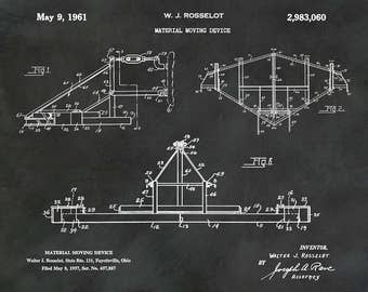 Patent 1961 Material Moving Device - Art Print - Poster - Farm Art - Excavator - Earth Leveler - Sand and Gravel Moving Equipment