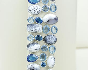 Denritic Agate Opal MERLINITE Irradiated London Blue Topaz Aquamarine 925 S0LID Sterling Silver Bracelet B2650