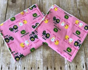 John Deere Pink Girl Burp Cloths, Tractors, Ducks