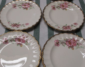 Limoges American Set of 6 Bread and Butter Plates Wild Rose Pattern 22K Gold Trim  3KGW