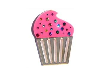Large Swarovski Crystal Pink Cupcake Pin / Brooch