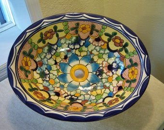 Talavera hand painted oval ceramic sink/Made in Mexico/OOAK Mexican folk art sink/Multi floral pattern/Blue,green,gold,tan,white/Bath decor