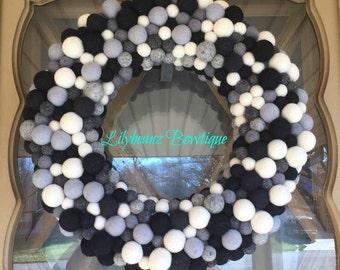 Felt Ball Wreath, Large Felt Wreath, Monochromatic Wreath, Modern Wreath, Nursery Decor, Pom Pom Wreath, Door Wreath, Holiday Door Decor