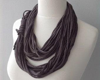 Dark Brown Cotton Jersey Scarf, layered scarf, infinity scarf