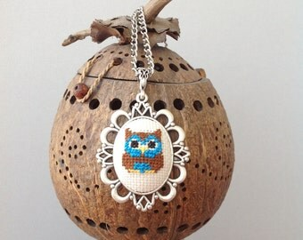 owl necklace, hand embroidered owl, Cross Stitch