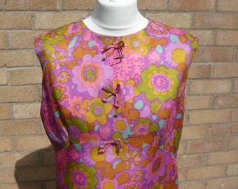 1960's Vintage Ladies Multicoloured Day Dress